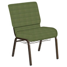 Embroidered 21''W Church Chair in Mainframe Basil Fabric with Book Rack - Gold Vein Frame
