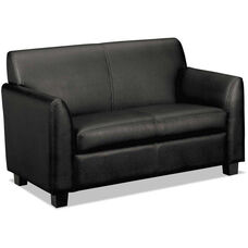 Basyx® VL870 Series Tailored Leather Reception Two-Cushion Loveseat - Black