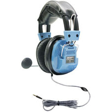 Blue Over-Ear Deluxe Gooseneck Mic Headset with In-Line Volume Control Plus TRRS Plug and Background Noise Reducing Capabilities