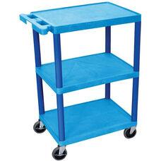 3 Shelf Structural Foam Plastic Utility Cart - Blue - 24