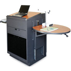 Vizion Collabritive Stationary Teachering Center Lectern with Acrylic Doors - Dark Neutral Powdercoat Paint and Cherry Laminate
