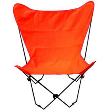Folding Butterfly Chair with Black Steel Frame and Cotton Cover - Orange