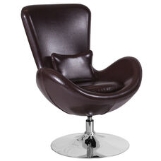 Egg Series Brown Leather Side Reception Chair
