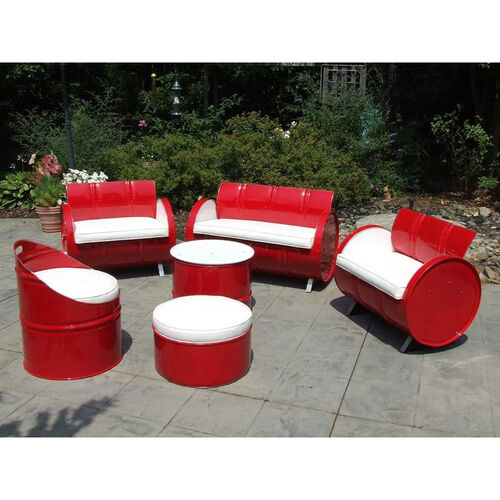 Our SS 396 Steel Drum 6 Piece Conversation Set with White Accents is on sale now.