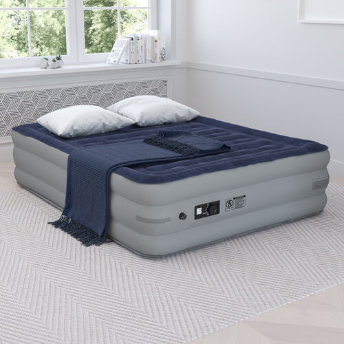 18 inch Air Mattress with ETL Certified Internal Electric Pump and Carrying Case - Queen