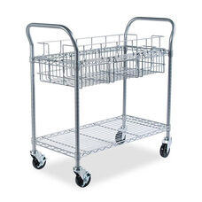 Safco® Wire Mail Cart - 600-lb Cap - 18-3/4w x 39d x 38-1/2h - Metallic Gray
