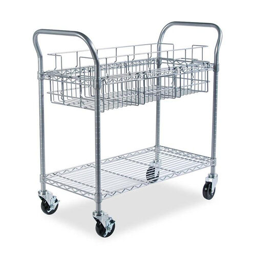 Our Safco® Wire Mail Cart - 600-lb Cap - 18-3/4w x 39d x 38-1/2h - Metallic Gray is on sale now.