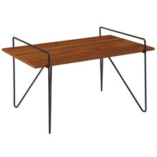 Porter Collection Cherry Wood Grain Finish Coffee Table with Black Metal Legs
