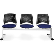 Stars 3-Beam Seating with 3 Fabric Seats - Navy