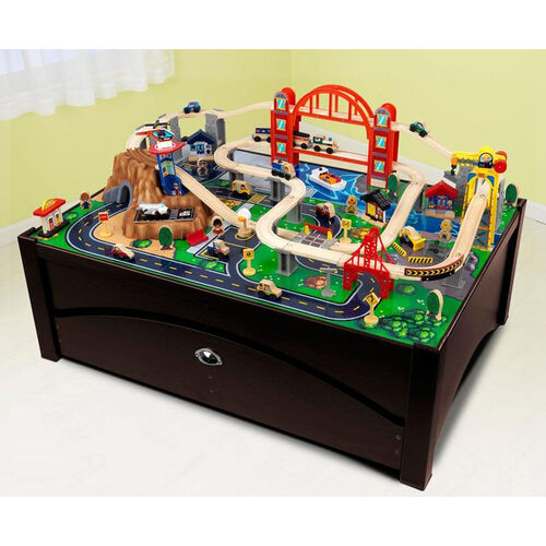Our Kids Solid Wood Train Table and Metropolis Train Set with Trundle Drawer for Storage - Espresso is on sale now.