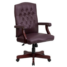 Martha Washington Burgundy LeatherSoft Executive Swivel Office Chair with Arms