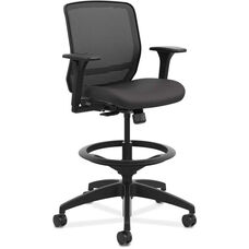 HON® Quotient Series Mesh Mid-Back Synchro-Tilt Task Stool with Adjustable Arms and Footring - Black