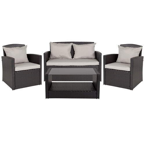Our Aransas Series 4 Piece Black Patio Set with Gray Back Pillows and Seat Cushions is on sale now.