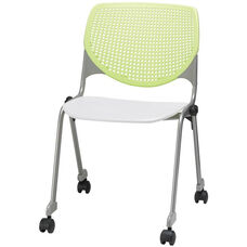 2300 KOOL Series Stacking Poly Silver Steel Frame Armless Chair with Lime Green Perforated Back and Casters - White Seat