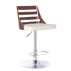 Storm Height Adjustable Chrome Finish Swivel Stool with Leatherette Seat - Cream