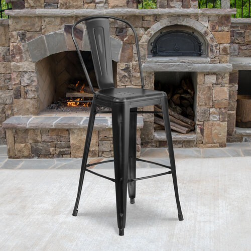 "Our Commercial Grade 30"" High Distressed Metal Indoor-Outdoor Barstool with Back is on sale now."