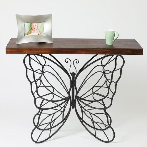Metal Butterfly Accent Table with Wooden Top