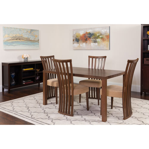 Our Addison 5 Piece Walnut Wood Dining Table Set with Dramatic Rail Back Design Wood Dining Chairs - Padded Seats is on sale now.