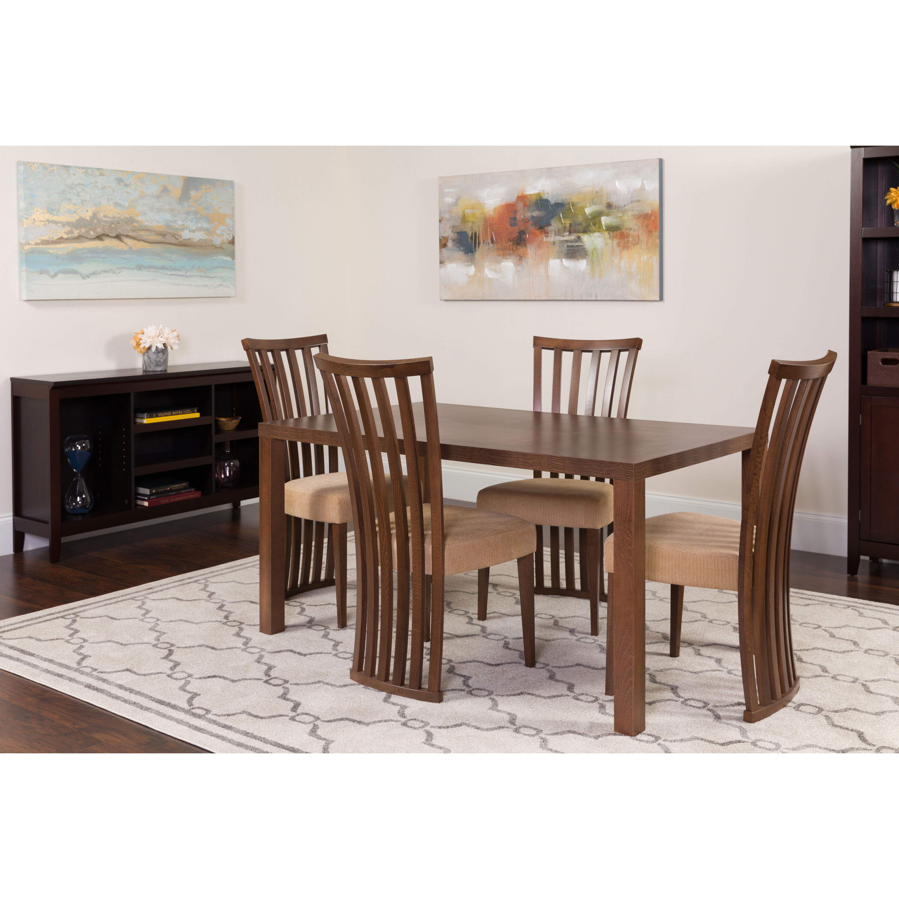 Addison 5 Piece Walnut Wood Dining Table Set With Dramatic Rail Back Design  Wood Dining Chairs