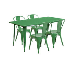 "Commercial Grade 31.5"" x 63"" Rectangular Green Metal Indoor-Outdoor Table Set with 4 Stack Chairs"