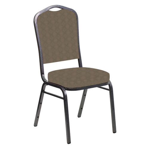Our Embroidered Crown Back Banquet Chair in Illusion Chic Gray Fabric - Silver Vein Frame is on sale now.