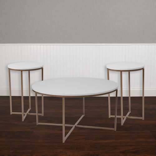 Hampstead Collection Coffee and End Table Set - Laminate Top with Crisscross Frame, 3 Piece Occasional Table Set