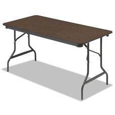 Iceberg Economy Wood Laminate Folding Table - Rectangular - 60w x 30d x 29h - Walnut