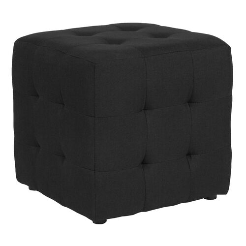 Avendale Tufted Upholstered Ottoman Pouf in Black Fabric