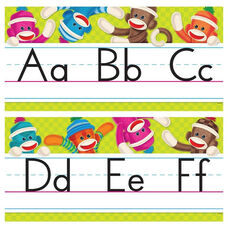 Trend Enterprises Sock Monkeys Alphabet Line Standard Manuscript Bulletin Board Set