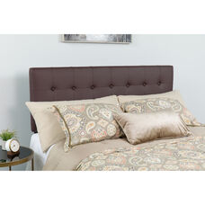 Lennox Tufted Upholstered Twin Size Headboard in Brown Vinyl
