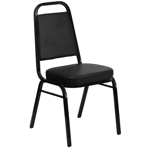 Our HERCULES Series Trapezoidal Back Stacking Banquet Chair in Black Vinyl - Black Frame is on sale now.