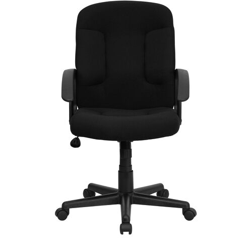 Basics Mid-Back Fabric Executive Swivel Office Chair with Arms, Black