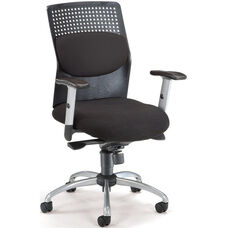 AirFlo Executive Task Chair with Silver Accents - Black
