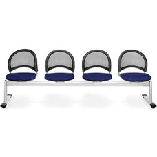 Moon 4-Beam Seating with 4 Fabric Seats - Navy