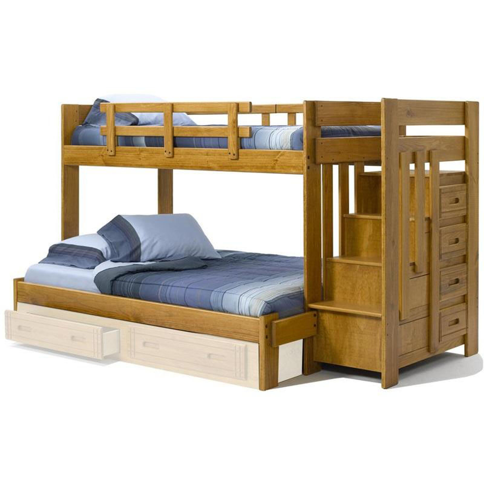 Chelsea Home Furniture Rustic Style Solid Pine Bunk Bed With Stairway Chest Twin Over Full