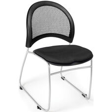 Moon Stack Chair with Fabric Seat Cushion - Black