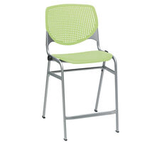 KOOL Series Stacking Poly Counter Height Stool with Perforated Back and Silver Frame - Lime Green