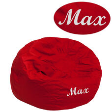 Personalized Small Solid Red Bean Bag Chair for Kids and Teens