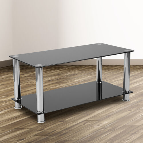 Riverside Collection Black Glass Coffee Table with Shelves and Stainless Steel Frame
