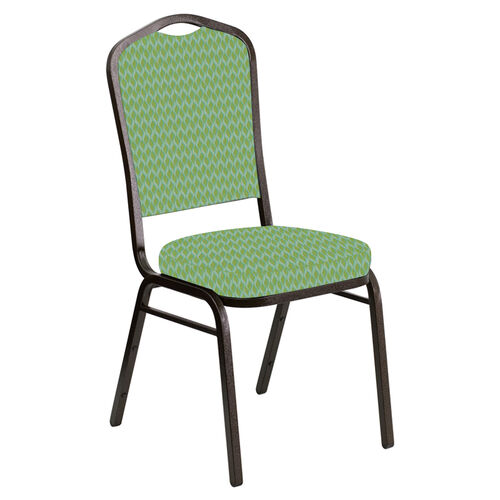 Our Embroidered Crown Back Banquet Chair in Rapture Lime Fabric - Gold Vein Frame is on sale now.