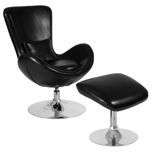 Egg Series Side Reception Chair with Bowed Seat and Ottoman