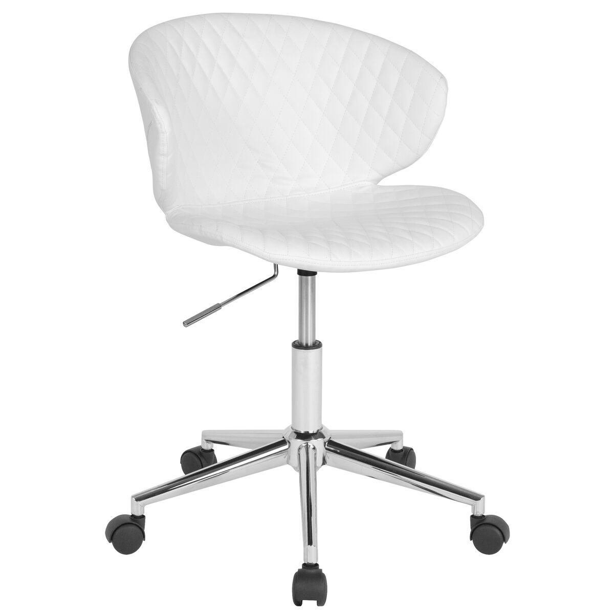 Our Cambridge Home And Office Upholstered Mid Back Chair In White Vinyl Is On