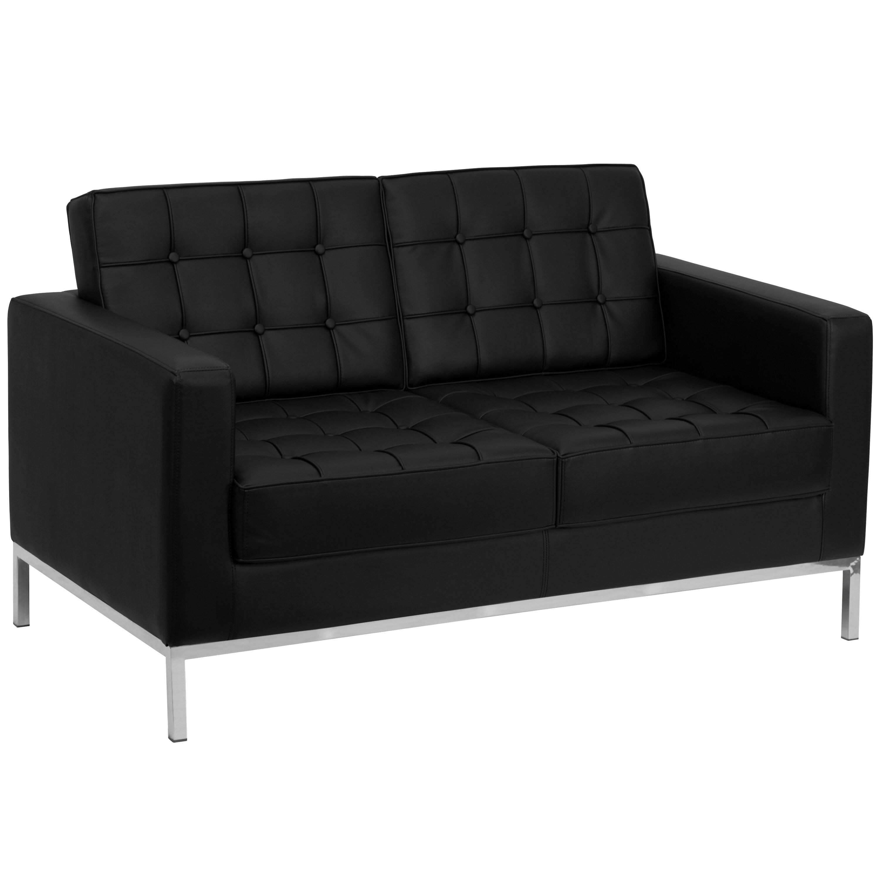 hercules lacey series black leather loveseat with stainless steel frame