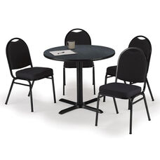 36'' Round Graphite Nebula Laminate Table Set with X-Base and Black Fabric Upholstered Stack Chairs - Seats 4