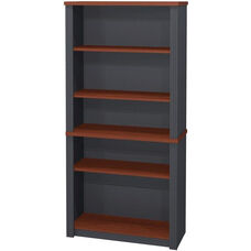 Prestige + Modular 5 Shelf Bookcase with Adjustable Shelves - Bordeaux and Graphite