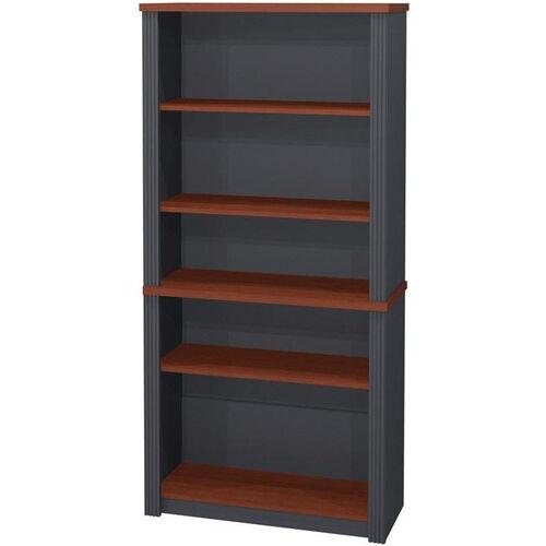 Prestige + Modular 5 Shelf Bookcase with Adjustable Shelves - Bordeaux and Graphite