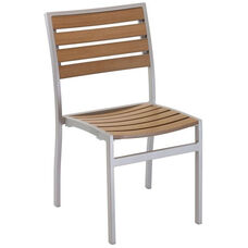 Cedar Key Collection Outdoor Stackable Side Chair with Faux Teak Back and Seat - Silver