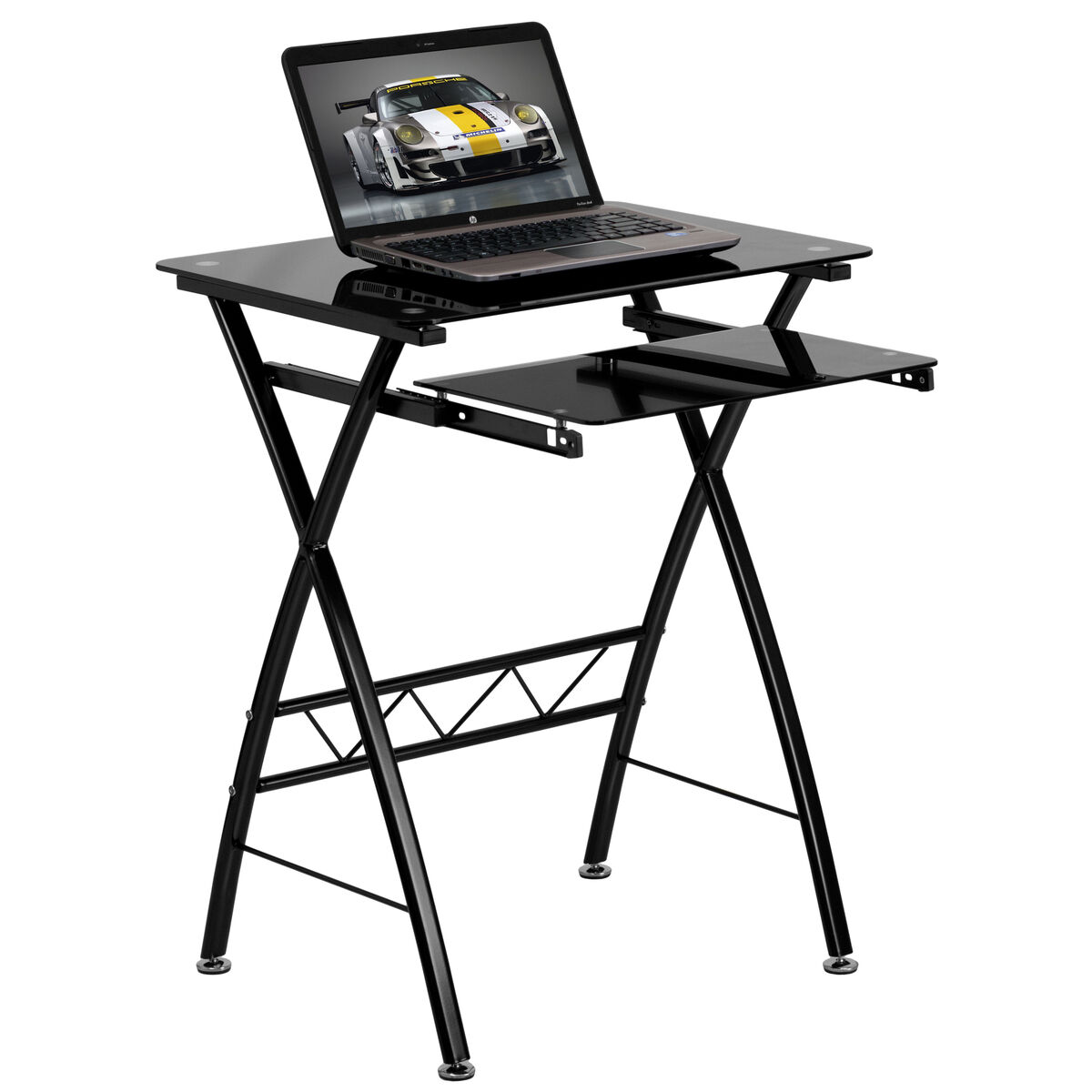 Our Black Tempered Glass Computer Desk With Pull Out Keyboard Tray Is On Now