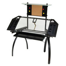 Futura Clear Tempered Glass and Steel Tower Craft Station with Adjustable Angle Work Top - Silver