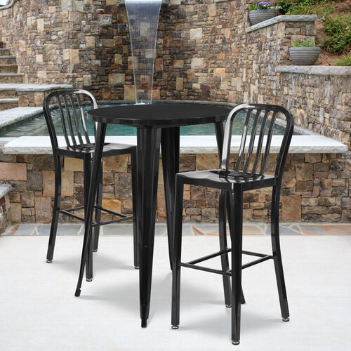 """Our Commercial Grade 30"""" Round Metal Indoor-Outdoor Bar Table Set with 2 Vertical Slat Back Stools is on sale now."""